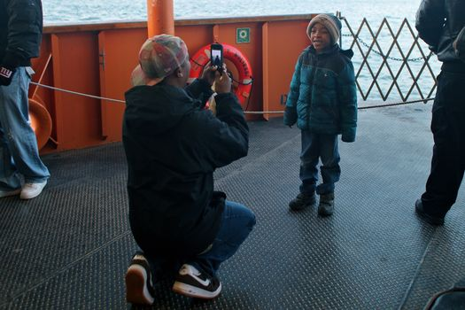 "Saying, ""che-e-e-e-ese,"" on the Staten Island Ferry."