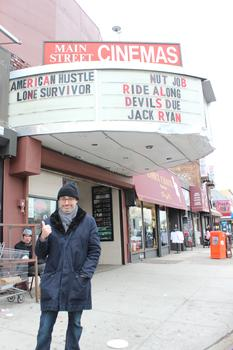 Writer Gary Shteyngart outside Main Street Cinemas in Queens.
