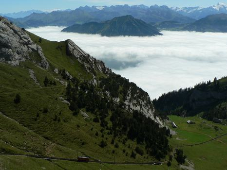 A trip up Mount Pilatus, via the Pilatus railway, the world's steepest cogwheel railway.