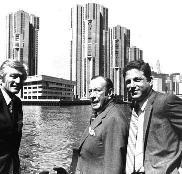 Richard Ravitch with Mayor Lindsay and former mayor Robert Wagner at the opening of the Waterside development at the East River and 23rd street.