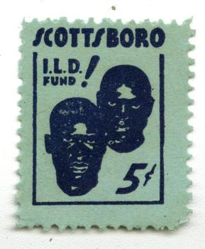 Scottsboro defense fundraising stamp.