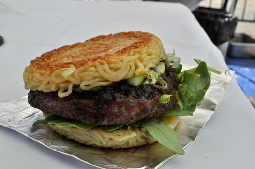 Ramen burger from Ramen Burger at Smorgasburg