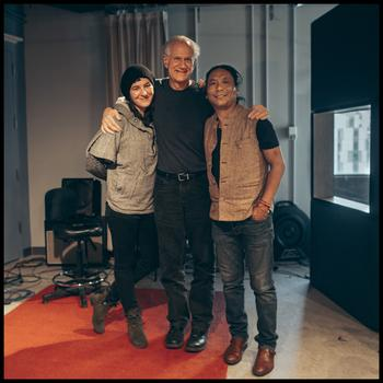 Jesse Paris Smith, David Garland, and Tenzin Choegyal in the WNYC studio