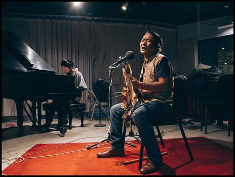 Jesse Paris Smith and Tenzin Choegyal in the WNYC studio