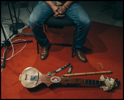 Tenzin Choegyal and his dranyen in the WNYC studio