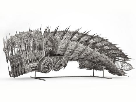 Wim Delvoye. Twisted Dump Truck (Counterclockwise, Scale model 1:5) (2011). Nickel-plated lasercut steel .