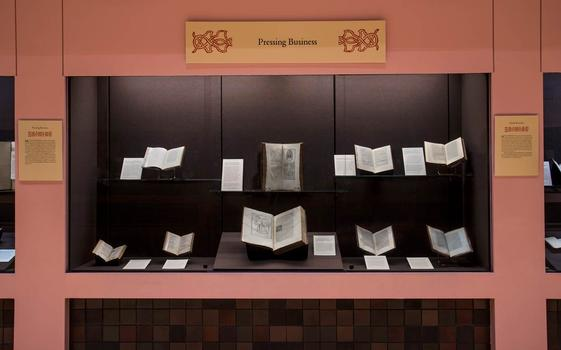 "An installation in the exhibit ""Aldus Manutius: A Legacy More Lasting Than Bronze."""