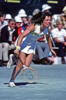 "Billie Jean King famously took on and beat Billy Riggs in the 1973 ""Battle of the Sexes""."
