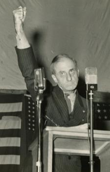 Retired General Smedley Butler giving a speech in the late 1930s.