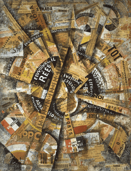 "Carlo Carrá's ""Interventionist Demonstration,"" created from tempera, pen, mica powder, and paper glued on cardboard, was created in 1914."