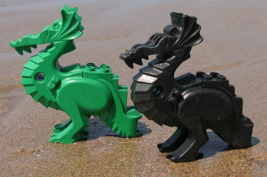 These Lego dragons washed up in Bigbury on Sea, South Devon, England in the late 1990s.