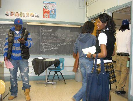 Students at Malcom X Shabazz High School in Newark, New Jersey, where teacher Lauretta Crawford uses <em>The Autobiography of Malcolm X</em> to try to reach her class.