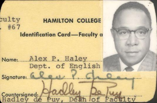 Alex Haley's Hamilton College ID card.  Haley was a writer-in-residence at the college.