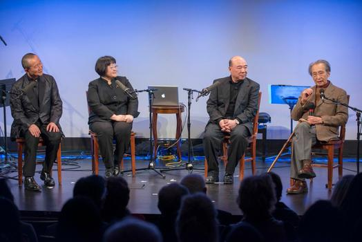 """Tan Dun, Chen Yi, Zhou Long and Chou Wen-chung (from left to right) at """"From China to America"""" at New York HIstorical Society on Jan. 10, 2014"""