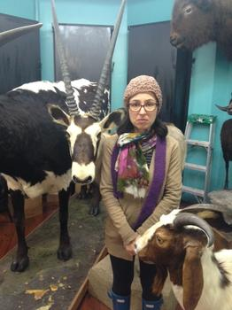 Manoush Zomorodi, host of New Tech City visiting the Torah Animal World in Brooklyn.
