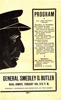 A pamphlet for one of the many public talks given by General Smedley Butler in the 1930s.
