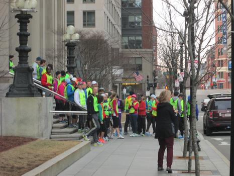 Tufts marathon team members beginning their training run.