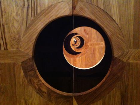 "Looking through Ai Weiwei's ""Moon Chest"" at the Brooklyn Museum."