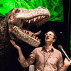 Jad Abumrad with a T-Rex during Radiolab Live: Apocalyptical