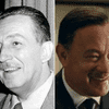 Walt Disney in 1954; and Tom Hanks as Walt Disney in <em>Saving Mr. Banks</em> (with Emma Thompson). The film opens December 13.