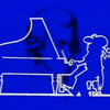 The Italian cartoon character La Linea (The Line) plays Mozart.