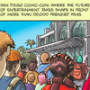 Detail of an image from the comic book-style press release for Rob Salkowitz's book Comic-Con and the Business of Pop Culture