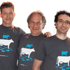 Radiolab staff in goat-on-a-cow tshirts