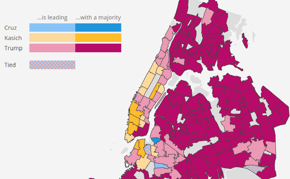 MAP The New York Primary By NYC Neighborhood WNYC News WNYC - Color temperature us voting map