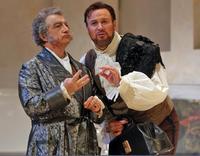 Baritone Alessandro Corbelli sings Bartolo, and baritone Lucas Meachem sings Figaro.