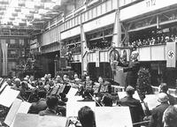Wilhelm Furtwangler conducting the Vienna Philharmonic at an armaments factory in Berlin in May 1943