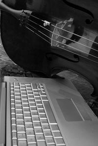 cello and Macbook