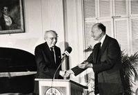 Aaron Copland and Ed Koch at Gracie Mansion in 1983