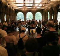 The Knights performed in a sheltered area near the Bethesda Fountain during the rain delay at the Naumburg Bandshell