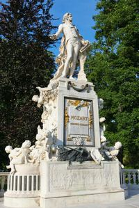 A statue of Wolfgang Amadeus Mozart in public park Burggarten in the center of Vienna.