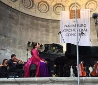 Simone Dinnerstein performs with Ensemble LPR at the Naumburg Bandshell in Central Park
