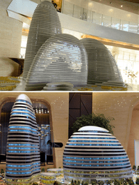 A model of the Wangjing SOHO (top) building in Beijing, designed by architect Zaha Hadid, and a model of the Meiquan 22nd Century building (bottom) in China's southwest Chongqing.