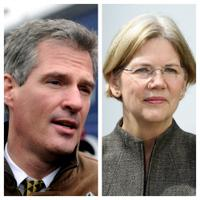 Senator Scott Brown and challenger Elizabeth Warren