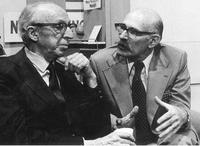 Howard H. Scott (R), with the composer Aaron Copland in 1974