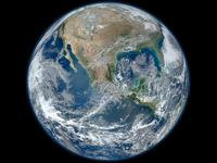 A 'Blue Marble' image of the Earth taken from the VIIRS instrument.