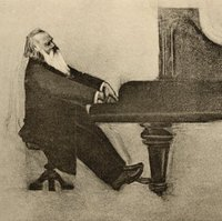 Brahms playing the piano