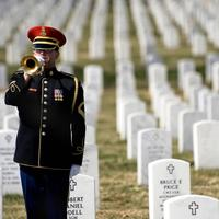 A lone U.S. Army bugler at Arlington National Cemetery, March 11, 2009
