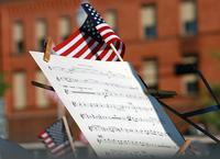 American flag and music