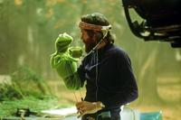 Puppet master Jim Henson with his alter-ego, Kermit — on view at the Museum of the Moving Image.