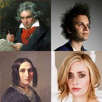 Clockwise from top right: Tyondai Braxton, Sarah Kirkland Snider, Fanny Mendelssohn and Ludwig van Beethoven