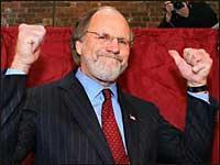 U.S. Sen. Jon Corzine gives gives thumbs up after casting his vote in Hoboken, N.J., Tuesday, Nov. 8, 2005. (AP Photo/Tim Larsen)