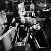 The Comedy of Terrors: (L to R) Basil Rathbone, Boris Karloff, Peter Lorre, Vincent Price
