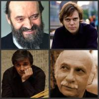 Clockwise from top left: Arvo Pärt, Andrius Zlabys, Giya Kancheli, Andrei Pushkarev