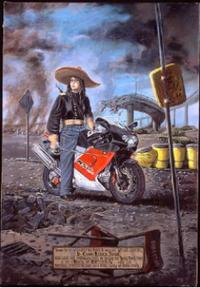 Detail from 'Lt. Commander Rebecca Jordan' from Sandow Birk's series In Smog and Thunder