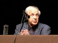 Pierre Boulez during a conference at the Palais des Beaux-Arts in Brussels in 2004.