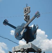 Robert Johnson's famous crossroads is now a tourist attraction in Clarksdale, Mississippi